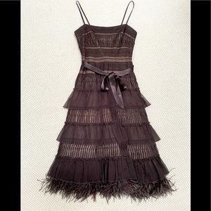 BCBG Layered Cocktail Dress with Feathers